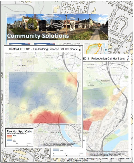 Community Solutions fire/building collapse call hot spots map