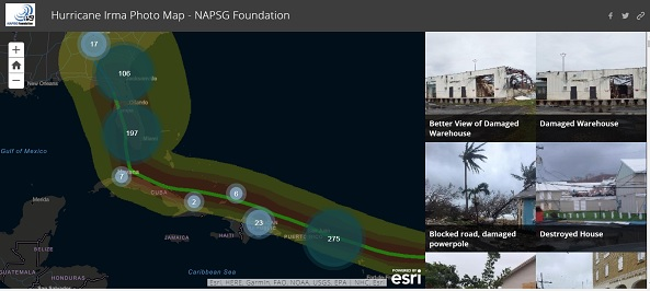 Crowd sourcing project with NAPSG - Hurricane Irma screen shot of Irma path